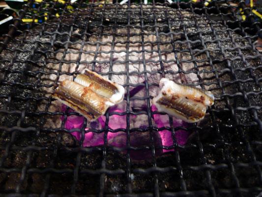 アナゴの白焼き(炭焼き中)